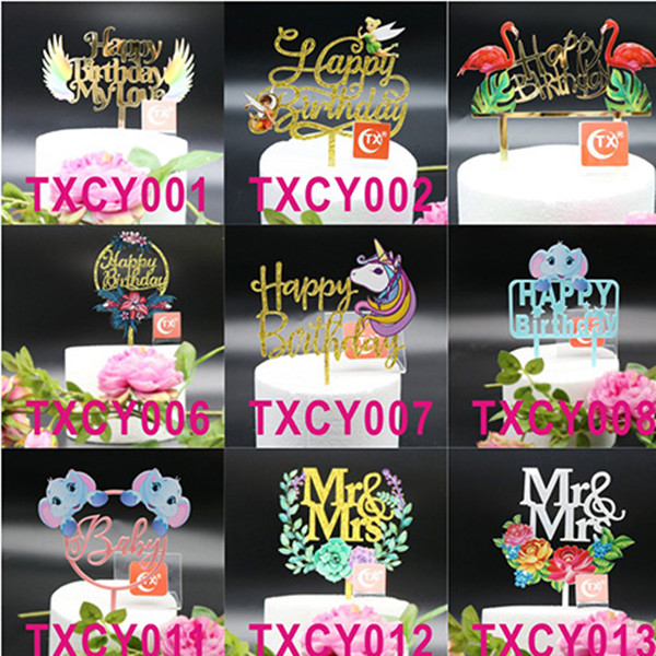 Creative Painted Acrylic Birthday Wedding Cake Topper Flags Baby Shower Birthday Aniversary Party Cake Decor Supplies-2