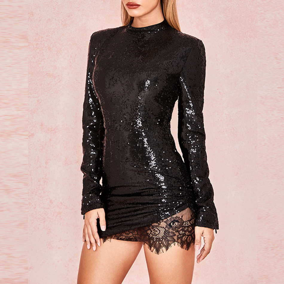 Adyce 2019 New Arrival Women Spring Celebrity Runway Party Dress Black Long Sleeve Sequin Lace Mini Luxury Club Dresses Vestidos