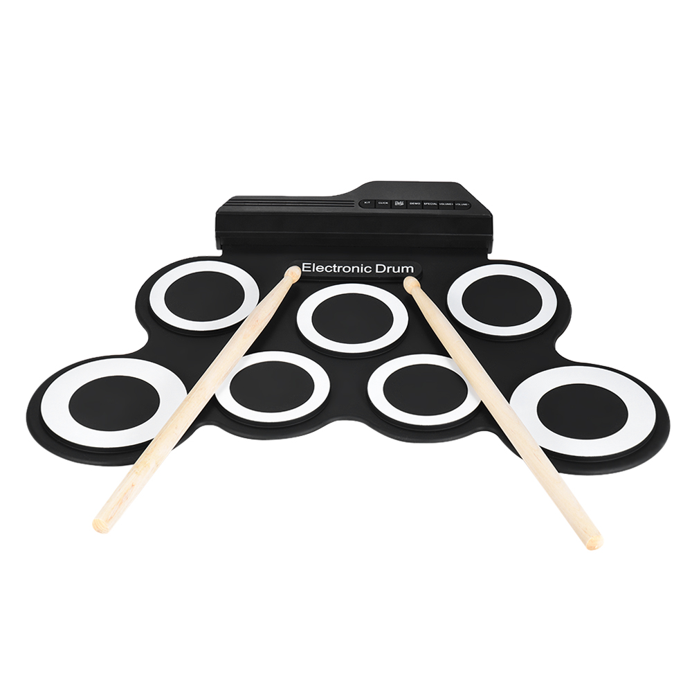 hot portable digital electronic roll up drum set kit 7 silicon drum pads usb powered with. Black Bedroom Furniture Sets. Home Design Ideas