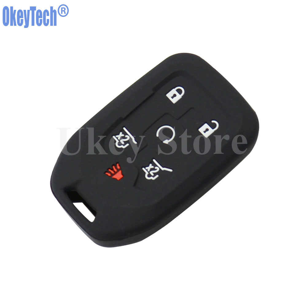 Black+Blue 2Pcs Silicone Key Fob Cover Case Jacket Protector fit for Chevrolet Silverado Colorado GMC Sierra Yukon Cadillac 4 Buttons Key Remote