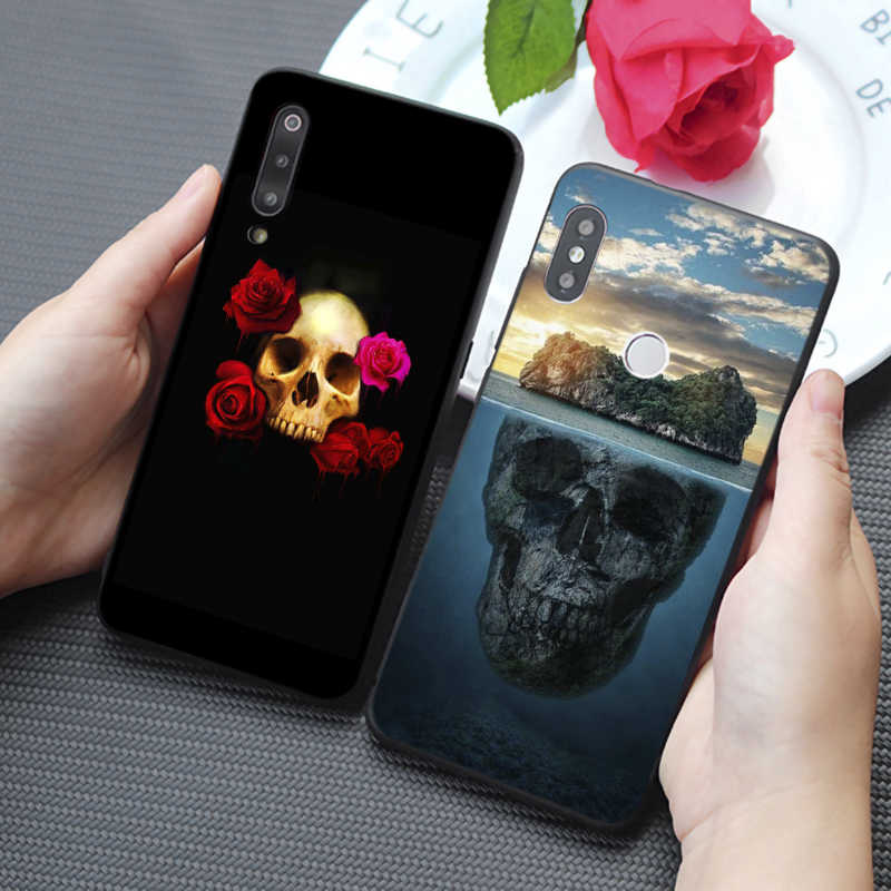 Funda de teléfono de silicona suave dura del amor del pirata del cráneo de la flor del estilo Retro para samsung galaxy a50 a70 a30 a40 s8 s9 s10 plus