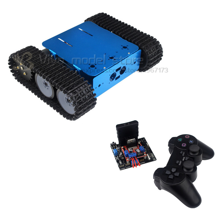 DIY wifi smart tank robot blue hard Aluminum Tracked robot chassis RC Model tank nylon crawler chassis unassembled diy tracked robot