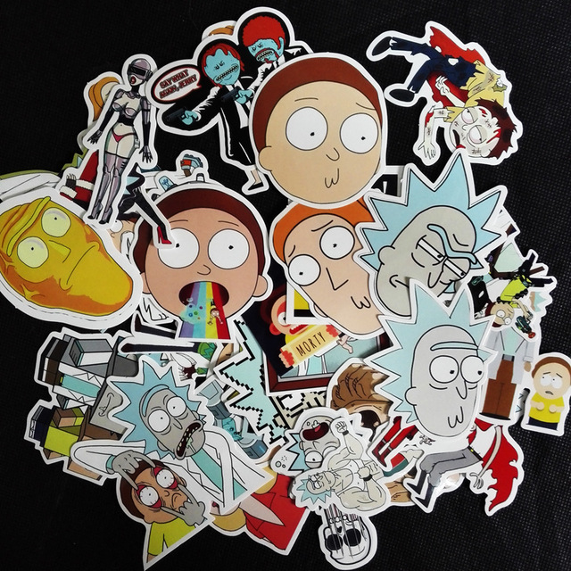 35pcs lot fun cartoon rick and morty stickers for car doodle