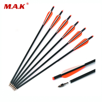 6 12 24 Pcs Mixed Carbon Crossbow Arrow Length 20 Inch Diameter 8 8 Mm Spine