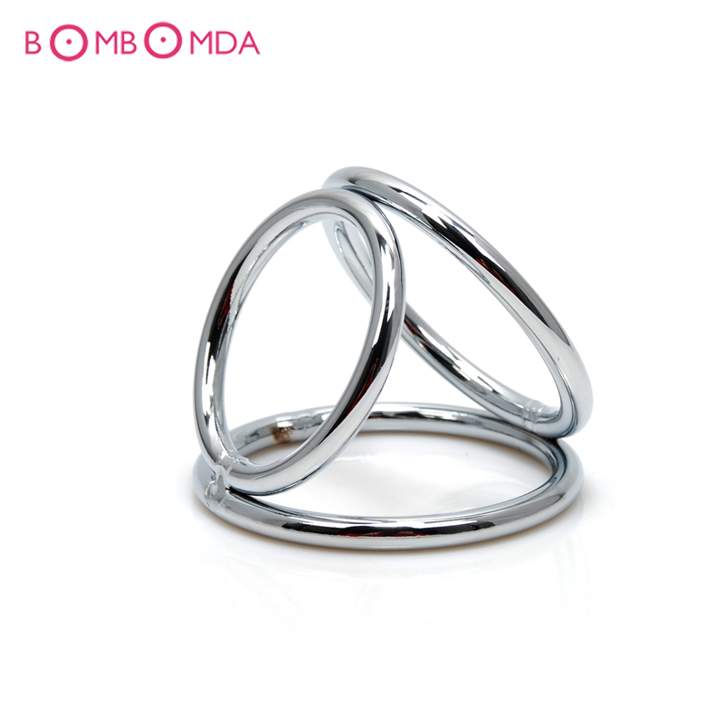 Penis Rings Men Metal Penis Delay Cock Ring Triple Stainless Steel Cock Ball Stretcher Delay Ring Hot Sale