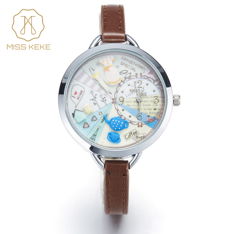 2016 MISS KEKE 3D clay cute mini world girls dresses kids watches Relogio Feminino Ladies Women quartz leather Wristwatches 820 miss keke women watches 2017 clay 3d mini cute world city young pretty girl kids children watch pink pu strap wristwatches