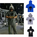 New Men GYMS Skull Hoodie T-Shirt Cotton Fitness Clothing Bodybuilding Stringers Sportwear Tops musculosas para hombres T shirt