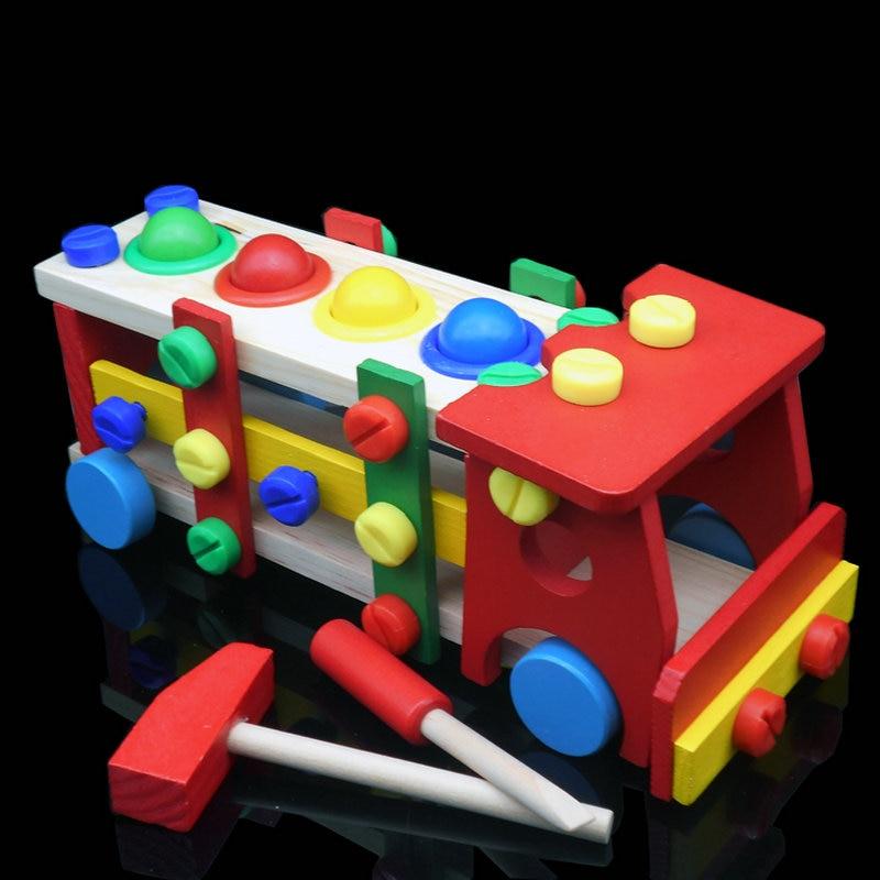 4d210edbf Drewniane zabawki dla dzieci narzędzia narzędzie dla dzieci samochód  demontować tabeli gry nauka edukacyjne Knock śruby kulkowe montaż ogród  bloku samochód ...