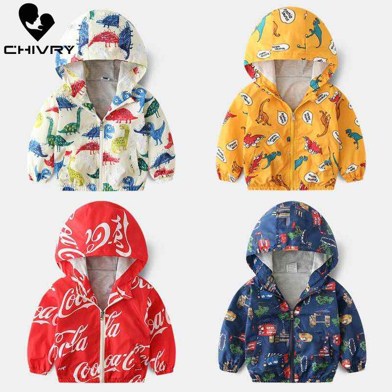 Spring Autumn Children Coat Kids Jacket Boys Girls Outerwear Boy Fashion Cartoon Print Windbreaker Baby Clothes Clothing