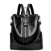 2018 New Fashion Women Backpacks Casual High Quality Pu Leather Female Ladies Bag Luxury Korean Student Double Zipper Backpack
