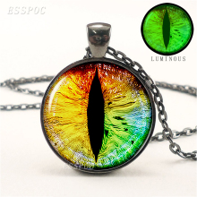 Dragon Eye Steampunk Green Blue Glow In The Dark Glowing Pendant Necklace Black Chain Luminous Jewelry Valentines Day Gifts