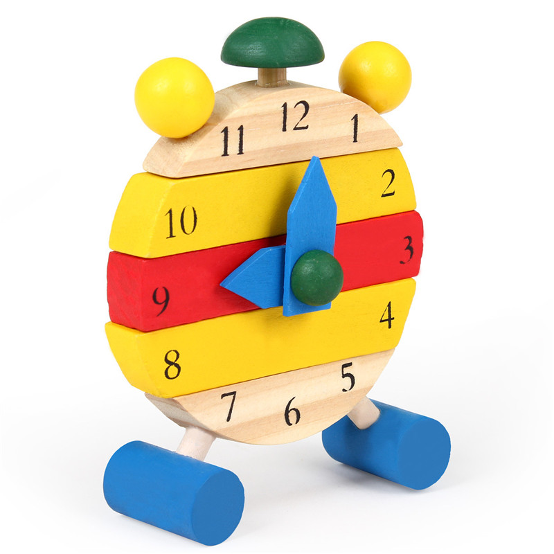 Children Education Toys!!!Cute Wooden Assembled Disassemble Blocks Clock Children Early Teaching Toys Birthday Christmas Gifts