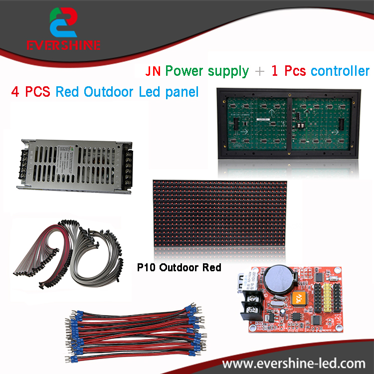 diy kits p10 advertising led display board 4 pcs p10 red led modules1 pcs JN power supply +1 pcs contrller+all cable oem odm standard waterproof led display panel for p5 p10 320mm 160mm led modules box size 960mm 480mm