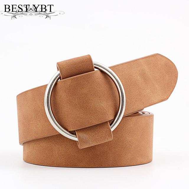 Best YBT Women Leather Belt Newest Round Buckle Belts