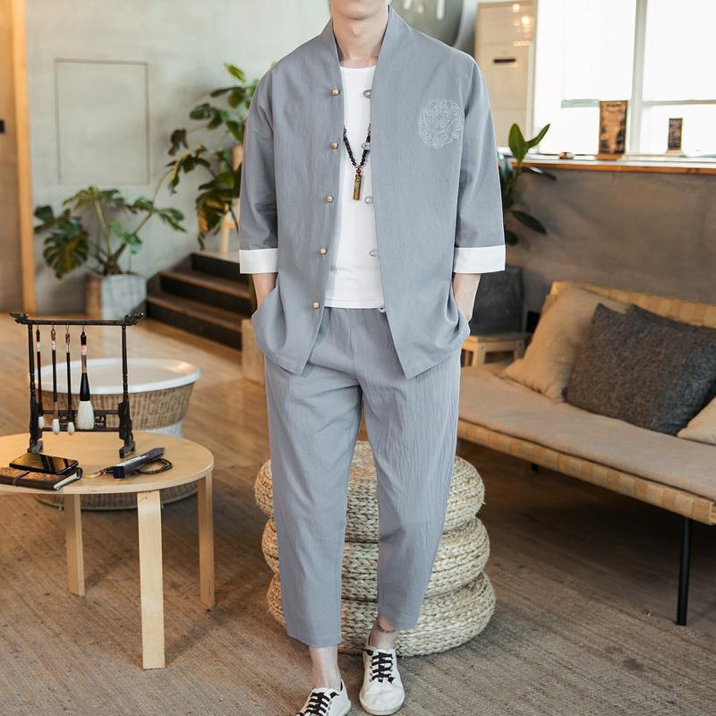 Plus Size 5XL 4XL Traditional Chinese Style Tracksuit Men Casual 3/4 Sleeve Shirt + Ankle Pants Two Piece Set Man Clothing