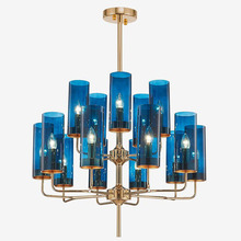 Modern luxury glass chandelier lighting 6-15 heads blue/Cognac nordic hang lamp indoor lighting fixture