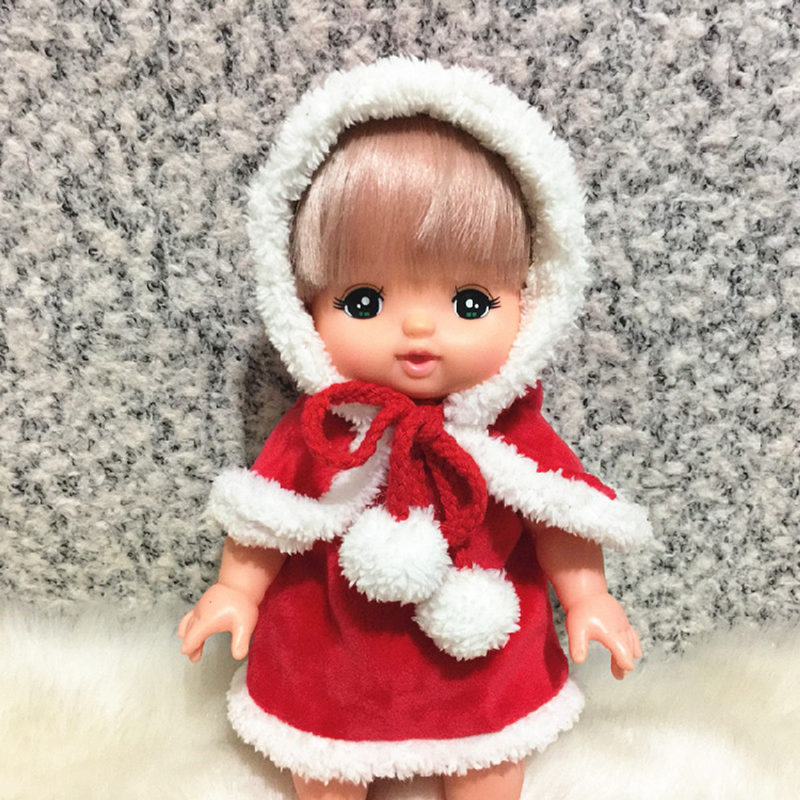 Baby Born Doll Clothes Fit 30cm Cute Red christmas shawl hat set and Jumpers Rompers Doll Clothes Children Birthday Gifts