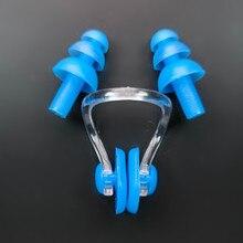 1 conjunto de proteção para nariz e ouvido, acessório de natação, à prova dágua, macio e de silicone