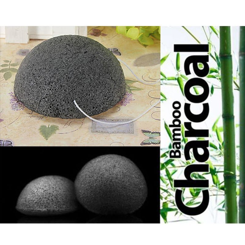 Mayitr Black Natural Bamboo Charcoal Konjac Sponge Face Makeup Cleaning Puff Sponges Tools