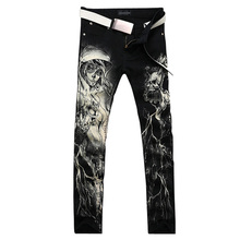 2017 new vogue straight leg denims lengthy males male printed denim pants cool cotton designer good high quality model trousers MJB017
