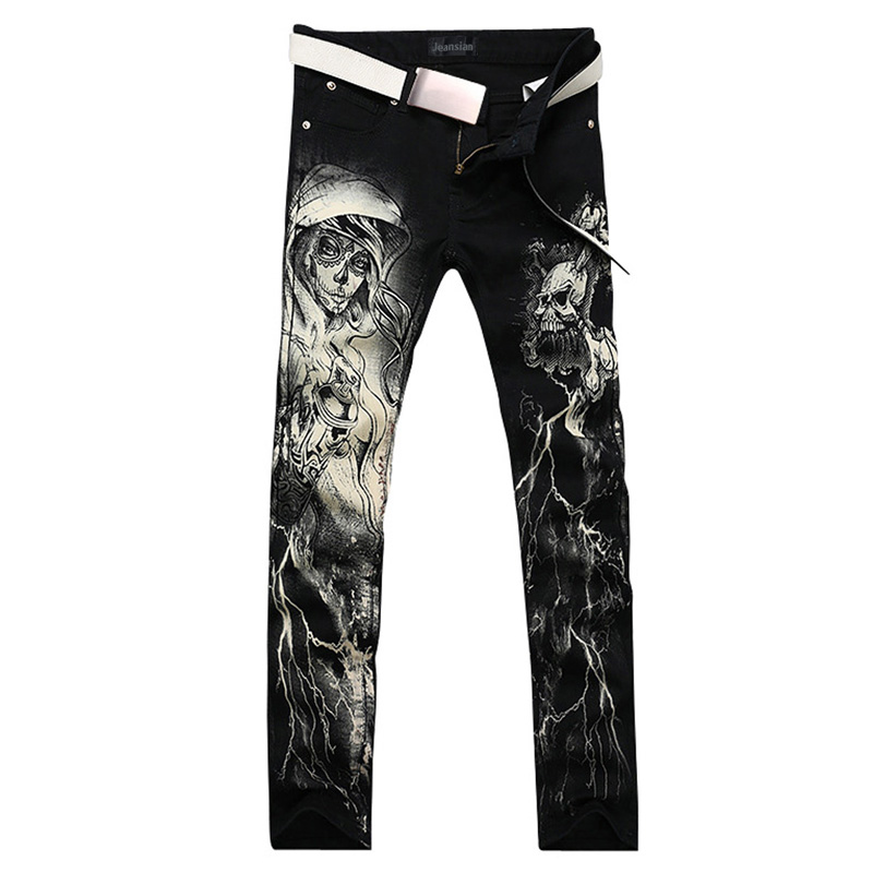 2017 new fashion straight leg jeans long men male printed denim pants cool cotton designer good quality brand trousers  MJB017