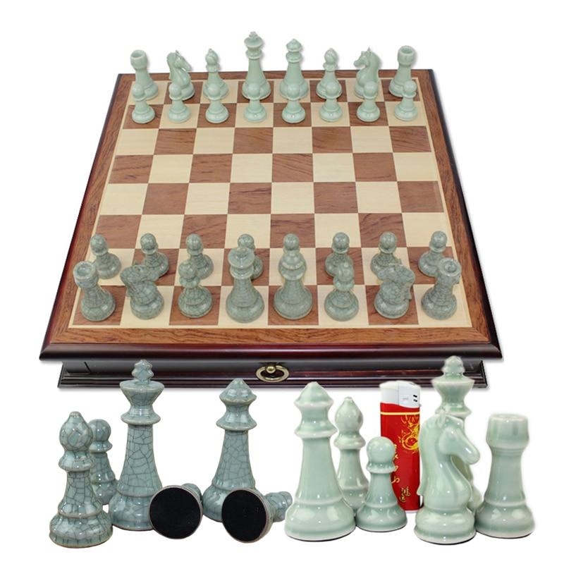 BSTFAMLY ceramics chess set, upscale international chess, 47*47*8cm wooden box chessboard king height 97mm chess game, LA62 hercules abalone bao zhuoyou king of chess strategy puzzle chess parent child desktop toys plastic box