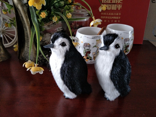 a pair of small cute simulation penguin toy resin&fur black&white penguin model gift about 12x7cm 0966