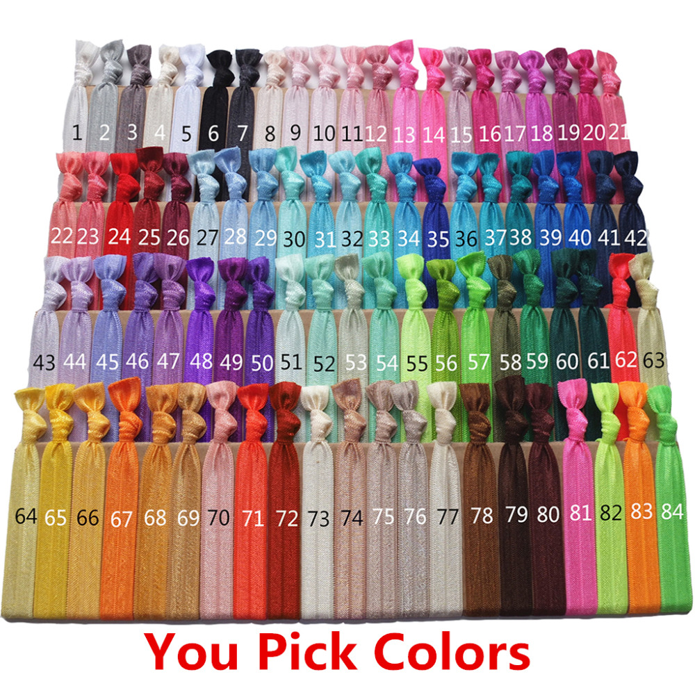 Mixed colors Hair ties 80 colors 16mm FOE Hair rope Hair elastic Wrist strap Hair band Free Shipping