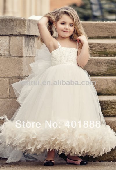 697c3948122 Ivory And White Cream Color Feather Bottom Tulle Lace Top Simple Flower  Girl Dresses-in Flower Girl Dresses from Weddings   Events on  Aliexpress.com ...