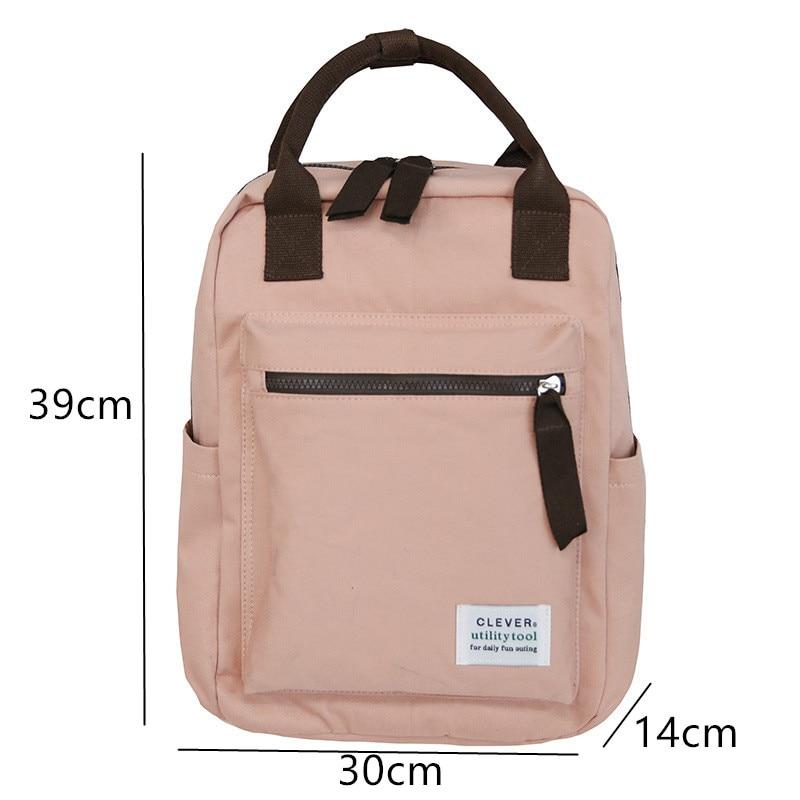 Plain Square Canvas Kanken Backpacks Female Japan Style College Women Travel Backpack Bag Top Handle Laptop Rucksack Girls 2019 #5