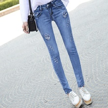 Новая коллекция весна и лето 2016 Корейских женщин джинсы карандаш брюки тонкий отверстие бурения вышитые джинсы стрейч
