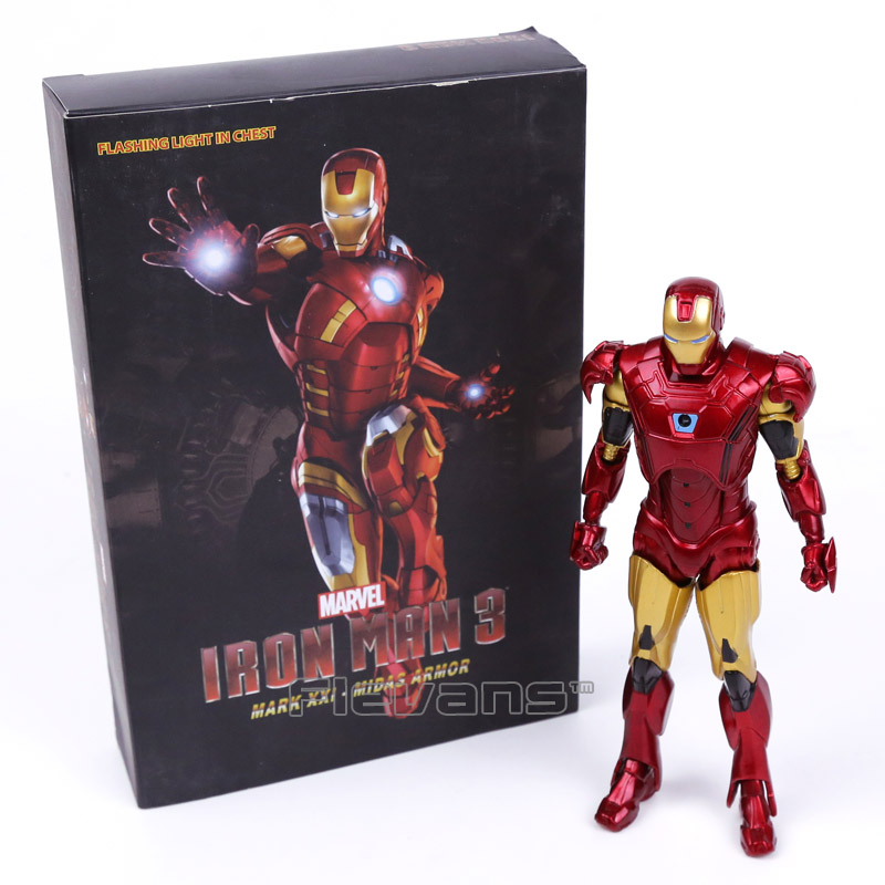 Iron Man MARK XXI MK21 Midas Armor Flashing Light in Chest PVC Action Figure Collectible Model Toy 7 18cm marvel iron man mark 43 pvc action figure collectible model toy 7 18cm kt027
