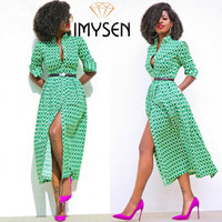 IMYSEN 2017 New Fashion Dresses Women Autumn Green Color Turn Up Collar Long Sleeved Dress England