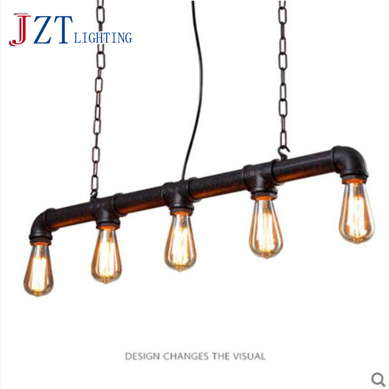 T Loft American Industrial Style Pendant Light Retro Rustic Steampunk Metal Pipe Edison Bulbs For Bar Pendant Chain Iron Lamp t loft retro industrial wall lamp for bar