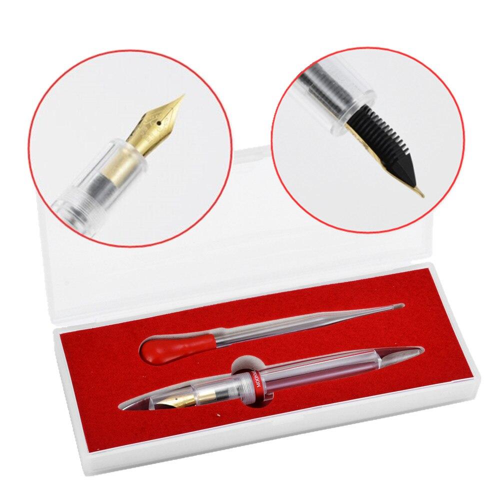 Totalmente Transparente Ponto Irídio 0.38mm Belas Nib Fountain Pen Conta-gotas Delicado Transparente Caneta Grande Para Escrever Mayitr