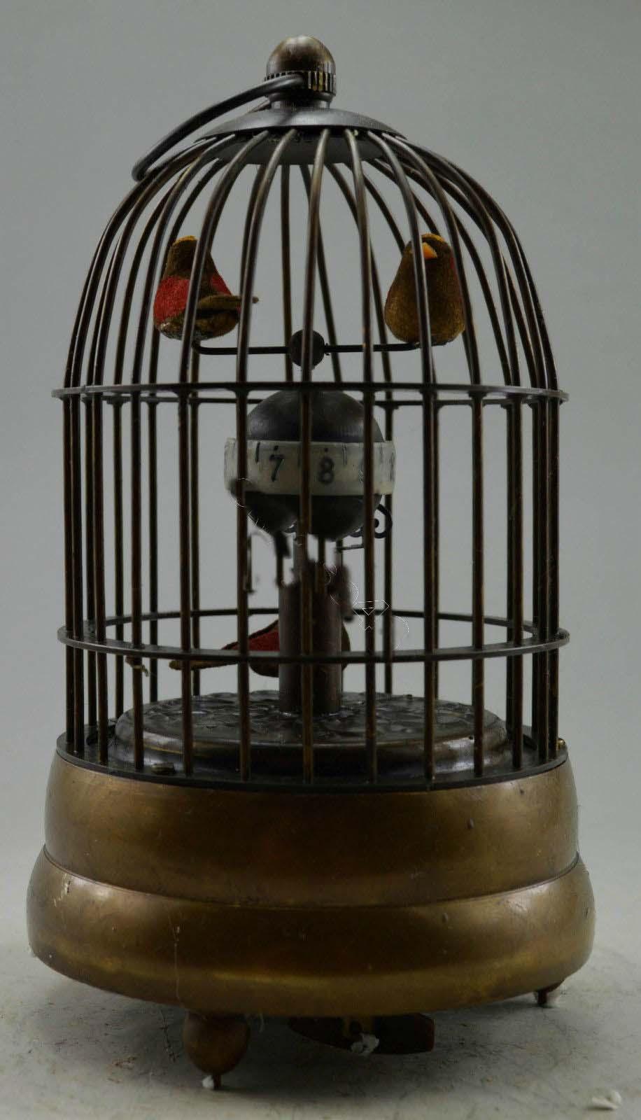 소장품 장식 된 오래된 구리 새가 새장 기계식 테이블 시계-에서동상 & 조각품부터 홈 & 가든 의  그룹 1