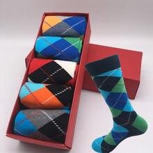 Moda maré meias feliz meias xadrez gradiente personalidade casal meias de algodão longo tubo sem caixa de presente