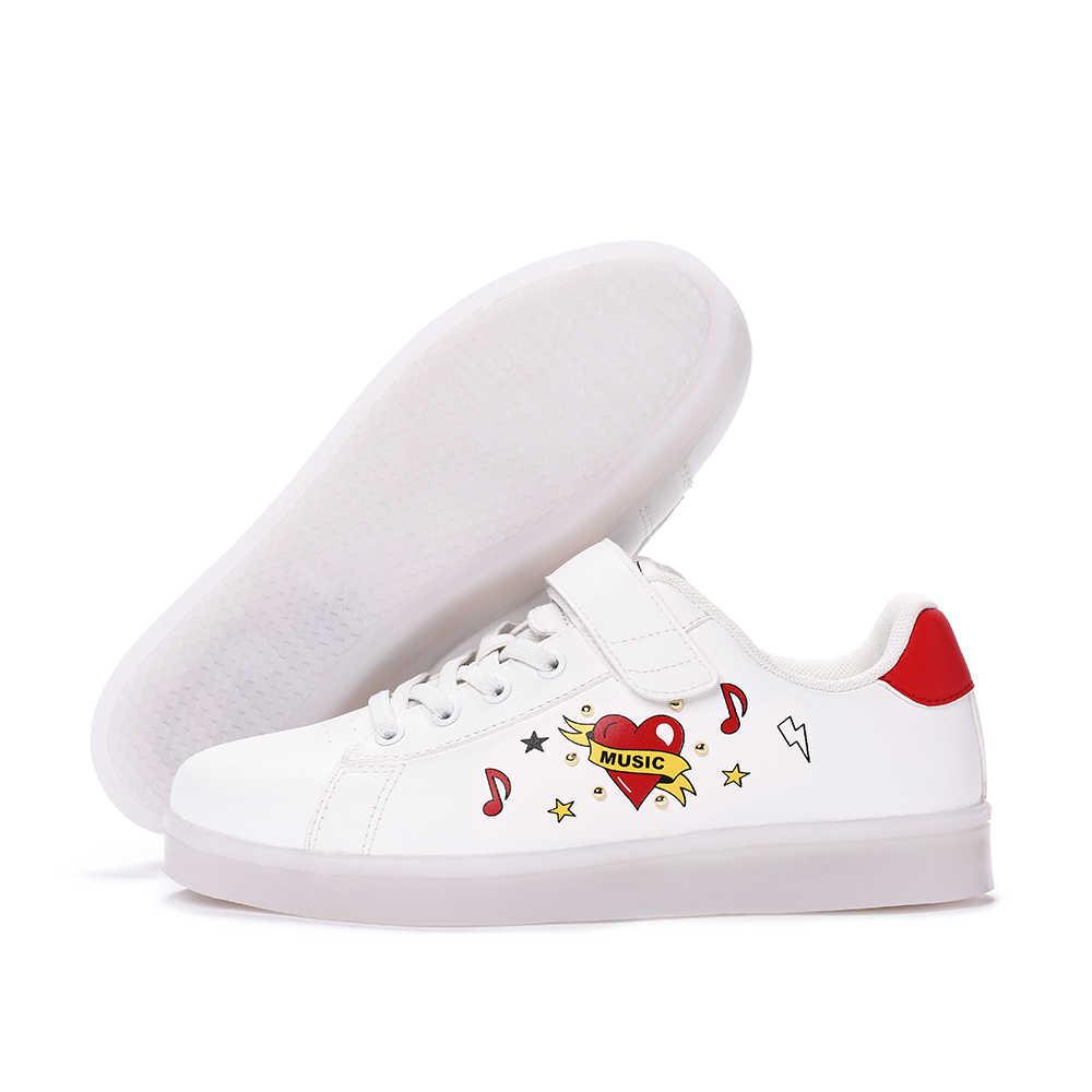 Balabala สาวแฟชั่น LED Luminous Lace - up Trainers กับ Hook & Loop Fastener เด็กเด็กวัยหัดเดินรองเท้าสบายๆรองเท้าวิ่งรองเท้าผ้าใบ