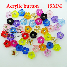 40PCS 15MM flower shape 15colors Dyed Acrylic buttons coat boots sewing clothes accessory brand crystal button A-004