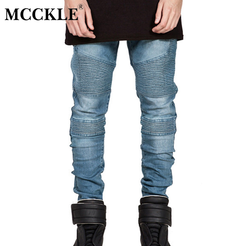 MCCKLE Hi-Street Mens Ripped Rider Biker Jeans Motorcycle Slim Fit Washed Black Grey Blue Moto Denim Pants Joggers  Skinny Men skinny biker jeans men hi street ripped rider denim jeans motorcycle runway slim fit washed moto denim pants joggers jw104