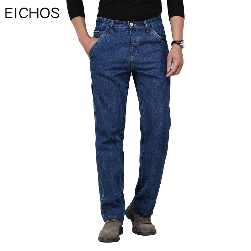 High Waist Jeans Men Classic Thick Section Winter Autumn Cotton Straight Jeans Male Casual Multi Pocket Loose Denim Overalls Men