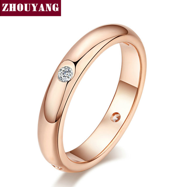 Top Quality Simple Cubic Zirconia Lovers Ring Rose Gold Color Jewelry Austrian C