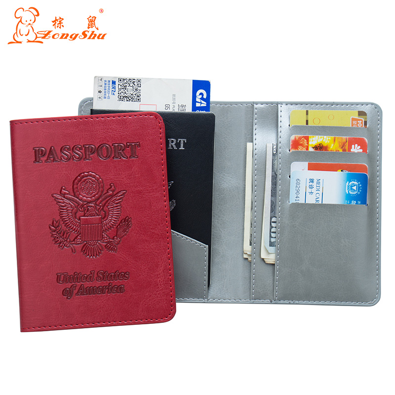 Coin Purses & Holders Usa Oil Gray Double-headed Eagle Convenient Pu Leather Passport Holder Built In Rfid Blocking Protect Personal Information Wide Varieties