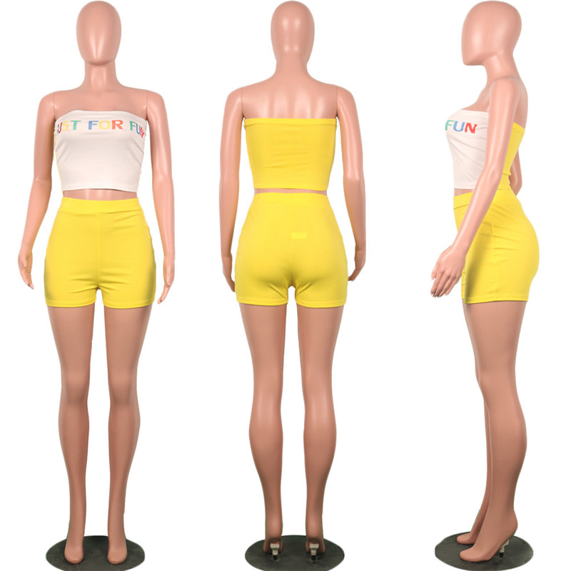 HTB1GmzuRgHqK1RjSZFgq6y7JXXaW - Summer Two Piece Outfits for Women Letter Print Sexy Set Crop Top and Short Pants Club Matching Sets biker shorts Plue suze