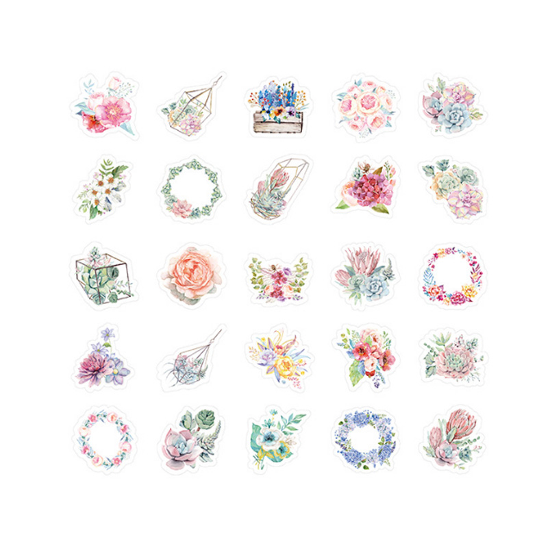 Купить с кэшбэком 46pcs/lot Beautiful flowers sticker DIY decoration sealed envelope Scrapbooking Sticker Stationery kawaii label stickers