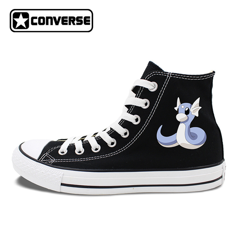 Canvas Sneakers Converse All Star Design Anime Pokemon Dratini White Black Skateboarding Shoes 2 Colors Can Choose JH14 anime converse all star skateboarding shoes boys girls pokemon snorlax white black canvas sneakers design 2 colors