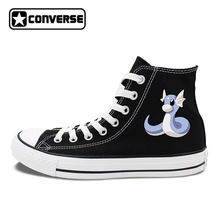 Canvas Sneakers Converse All Star Design Anime Pokemon Dratini White Black Skateboarding Shoes 2 Colors Can Choose JH14