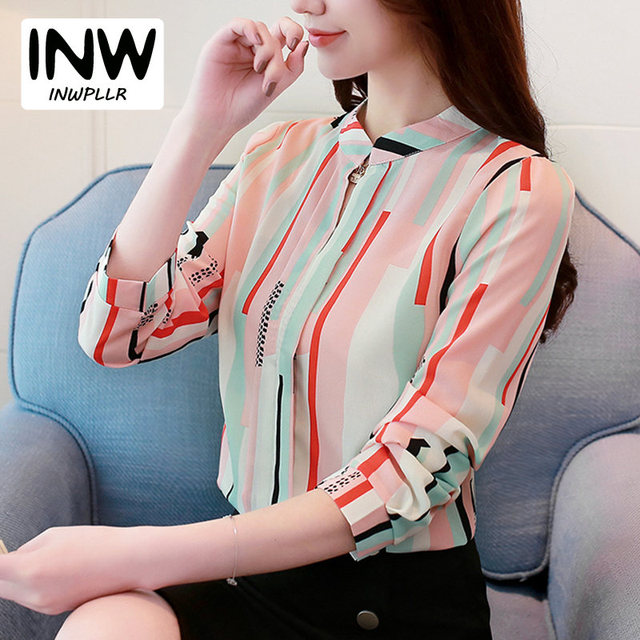 a3e8bbd4d Otoño colorido Rayas Tops mujeres moda trabajo desgaste Oficina Camisas  Mujer gasa Blusas Mujer 2019 manga