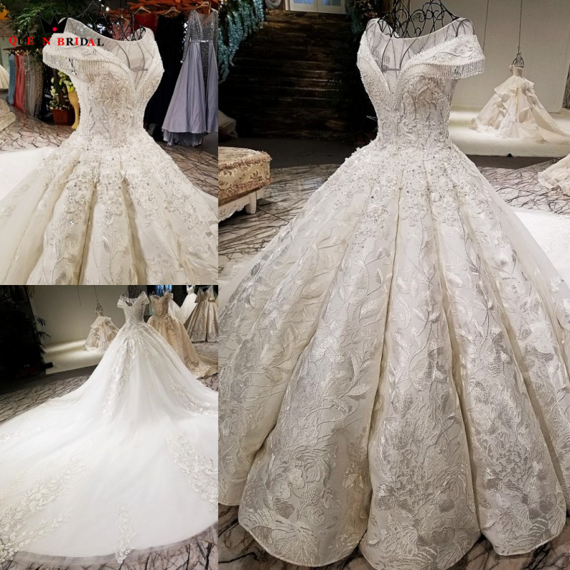 Custom Made Ball Gown V Neck Long Tail Lace Flower Wedding Dresses vestido de noiva Bridal Gown 2020 New Real Photo WD17