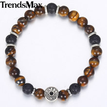Trendsmax Men's Tiger Eye Stone Beaded Bracelet Stainless Steel Charm Bracelet Male Jewelry Wholesale Gifts for Men DB42(Hong Kong,China)